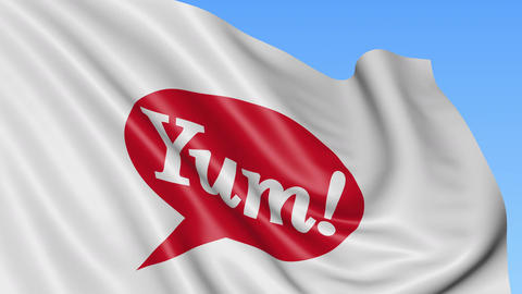 Waving flag with Yum Brands logo. Seamles loop 4K editorial animation Live Action
