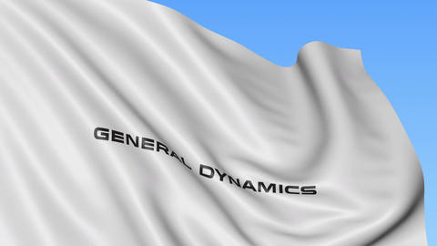 Waving flag with General Dynamics logo. Seamles loop 4K editorial animation Live Action