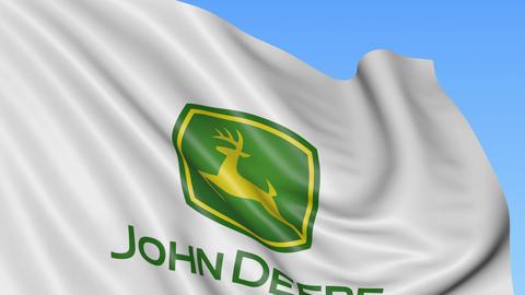 Waving flag with John Deere logo. Seamles loop 4K editorial animation Footage
