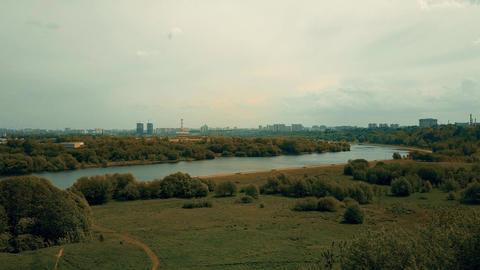 Moscow skyline as seen from Kolomenskoe park embankment Footage