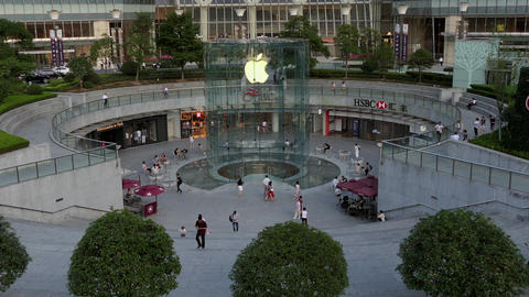 Shanghai Financial District With Apple Store Shops Mall In China Footage