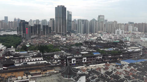 View Of Shanghai China Asia With Old And Modern Buildings Footage