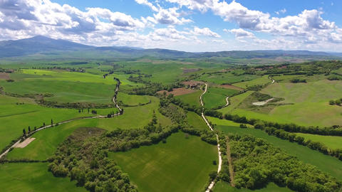 Tuscany aerial landscape with roads in Italy Footage