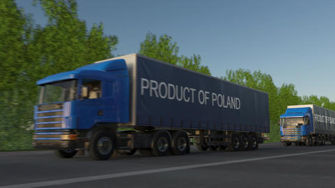 Moving freight semi trucks with PRODUCT OF POLAND caption on the trailer Footage