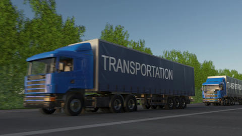 Speeding freight semi trucks with TRANSPORTATION caption on the trailer Footage