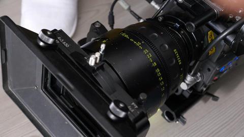 Closeup Modern Black Powerful Professional Camera Footage