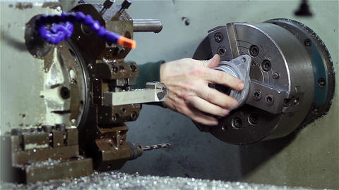 Operator Working On The Industrial Lathe Footage