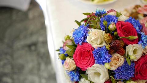 Wedding bouquet of fresh flowers.Festive bouquet of fresh... Stock Video Footage