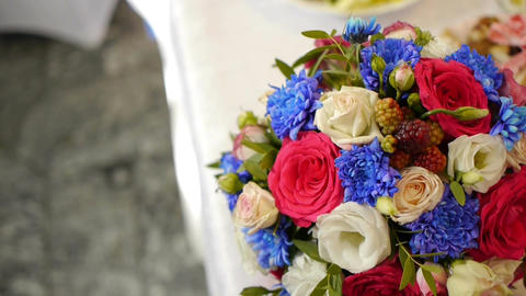 Wedding bouquet of fresh flowers.Festive bouquet of fresh flowers.Wedding bridal Footage