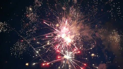 Colorful fireworks at holiday night Footage