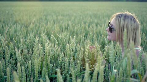 Elegant Beauty Woman Style Wheat Slow Motion Footage