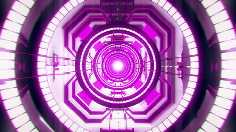 3D Sci-Fi Tech Tunnel Loopable Purple Fuchsia Motion Background Animation