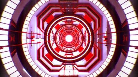3D Red Sci-Fi Tech Tunnel Loopable Motion Background Image
