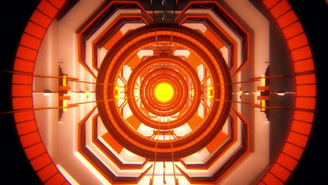 3D Orange Sci-Fi Tech Tunnel Loopable Motion Background Animation