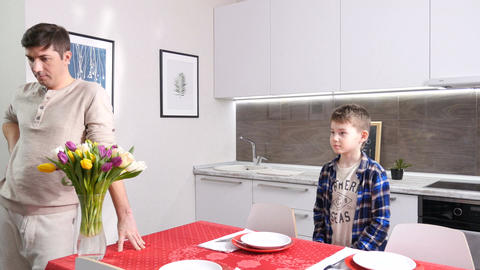 Film Crew Shoots Scene in Kitchen with Father and Son Footage