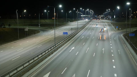 Long Exposure Time Lapse of Night Traffic in Vilnius, Lithuania Footage