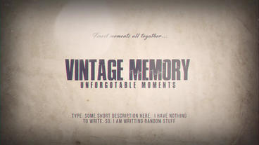 Vintage Memory After Effects Template