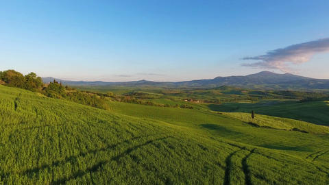 Tuscany aerial landscape at evening in Italy Footage