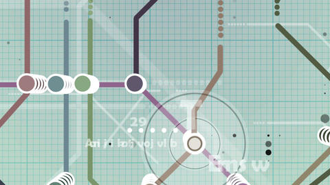 Metro map animation with falling letters and digit Animation