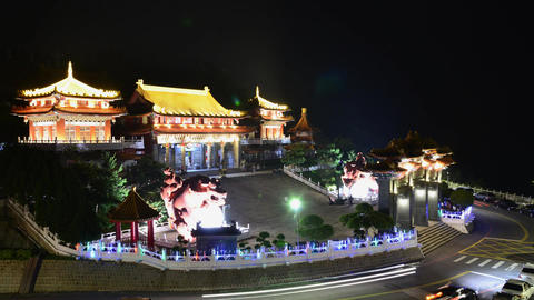 The nightscape of Wenwu Temple Footage