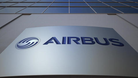Outdoor signage board with Airbus logo. Modern office building. Editorial 3D Footage