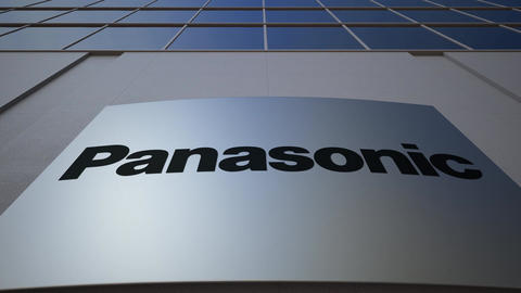 Outdoor signage board with Panasonic Corporation logo. Modern office building Footage