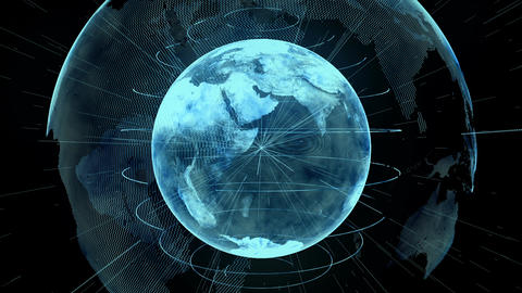 Holographic Planet Earth from space Animation