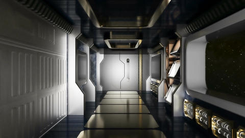 Abstract sci-fi spaceship corridor Animation