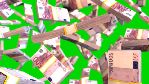 Falling euro bills on green creen CG動画素材