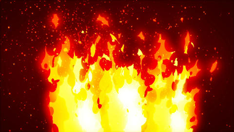Abstract CGI motion graphics with cartoon fire Animation