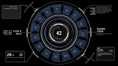 Beautiful Futuristic HUD. Numbers and Code Running. Target Scanner with Radar Animation