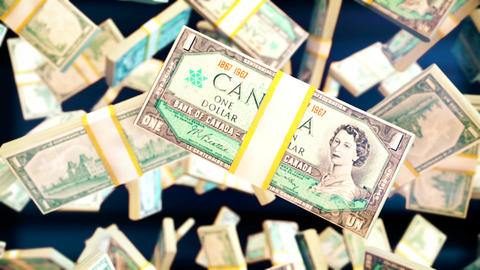 Abstract CGI motion graphics with falling canadian dollar bills Animation