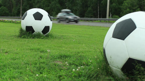 Soccer balls on green lawn near road ビデオ