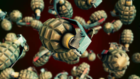 Abstract CGI motion graphics with flying grenades Animation