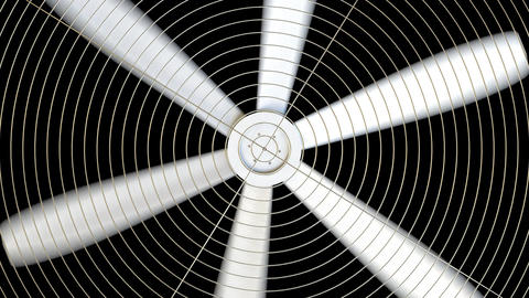 Spinning white fan against black background Live Action
