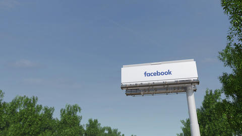 Driving towards advertising billboard with Facebook inscription 3D rendering 4K Live Action