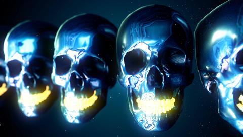 Abstract Loopable metallic skulls isolated on blue Animation