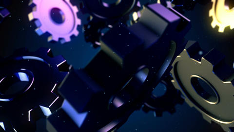 Abstract CGI motion graphics and flying gears Animation