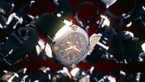 Abstract CGI motion graphics with flying watches Animation