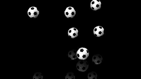 Bouncing Soccer Balls On Black Background 動画素材, ムービー映像素材