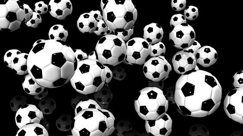 Bouncing Soccer Balls On Black Background Animation