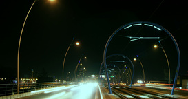 Night traffic at rush hour with cars and trains, time lapse, 4k Footage