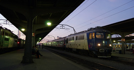 BUCHAREST, ROMANIA - January 2016 Train wagons view, commuters travel by train Footage