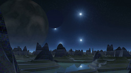 City of aliens, two moons and UFOs Animation