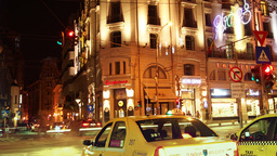 BUCHAREST, ROMANIA - November 2015: Night traffic over queen Elizabeth Avenue an Footage