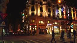 BUCHAREST, ROMANIA - November 2015: Night traffic over queen Elizabeth Avenue an Footage