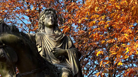 Monument to king Louis XIII in the Place des Vosges Square in Paris. France Footage