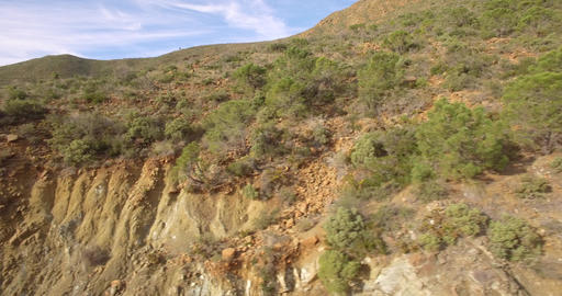 4K Aerial, Flight along hills and rocks, off the beaten track, Andalusia, Spain Footage
