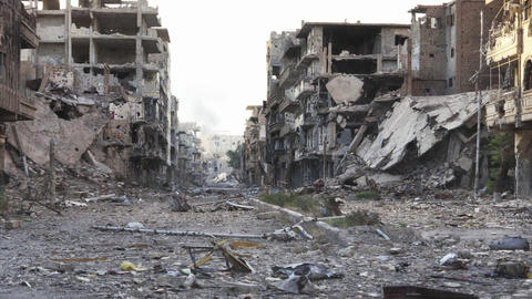 Syria Pan Dolly shot aftermath destroyed city - 4K Footage