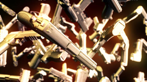 Abstract CGI motion graphics with flying pistols Animation